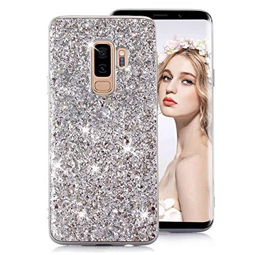 Silber Glitzer TPU Hülle für Galaxy S9 Plus,Strass Silikon Hülle für Galaxy S9 Plus,Moiky Luxus Ultradünnen Kristall Sparkles Überzug Weiche Gel Stoßdämpfend Schutzhülle
