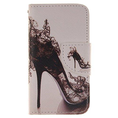 KATUMO® Schale für Apple iPhone 4S Hülle Ultra PU Leder Wallet Case iPhone 4 4S Tasche Kartenfächern und Standfunktion Yellow Tiger Schwarz High Heels