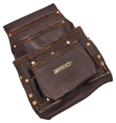 Am-Tech 4 Pocket Heavy Duty Leather Tool Belt, N0860 (Leather Duty Tool Heavy)