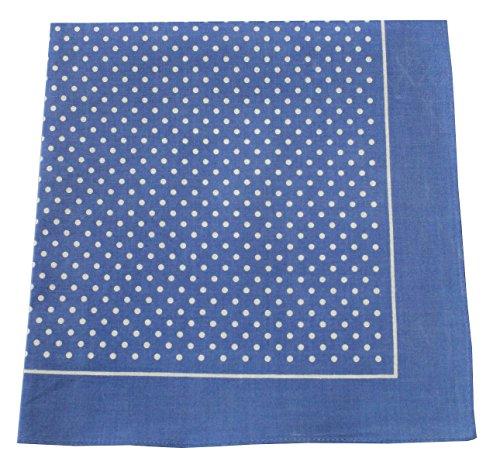 Tobeni 548 Bandana Nickituch in 100 Baumwolle für Damen und Herren Farbe kleine Punkte Hellblau Grösse 54 cm x 54 cm (Winter Bandana)