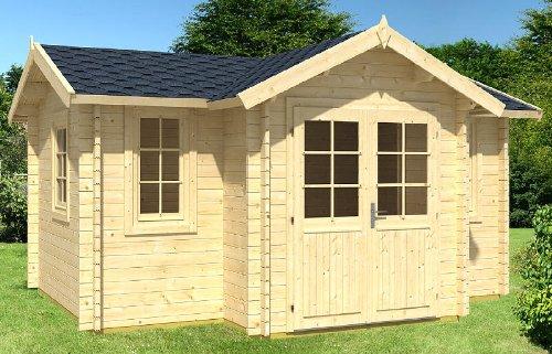 Gartenhaus HOBY JUCAR Blockhaus 476x297+83cm - 40mm - Inkl. Fußboden+Verglasung Gartenlaube Holzhaus Holzlaube