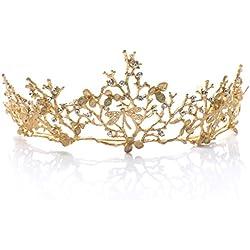handcess boda corona y tiara flor novia princesa Reina corona barroco vintage Rhinestone diadema para novia y de dama oro