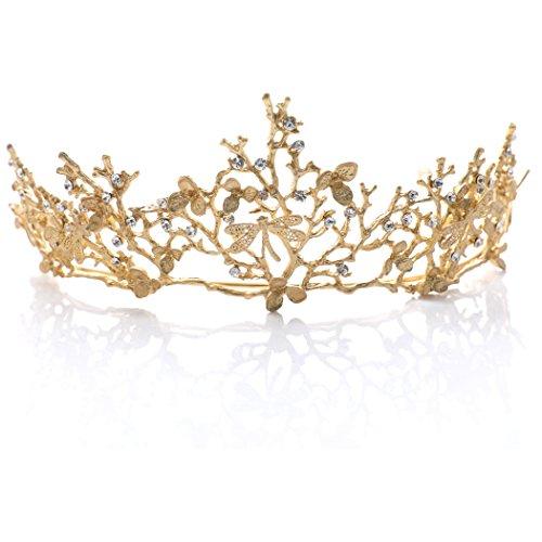 Handcess Krone/Tiara/Diadem mit Strass besetzt, Vintage-Stil, für Hochzeit, Braut, Brautjungfer, Königin, Prinzessin, goldfarben