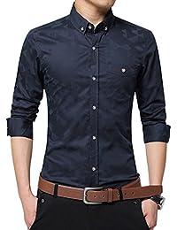 Zicac Herren Hemd Slim Fit Business Baumwolle Langarm Hemd Button-down Kragen Modern und Atmungsaktiv