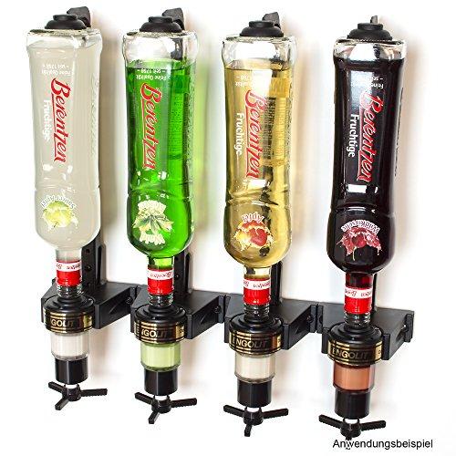 3,5 cl ENGOLIT Dosierer (Drehkreuz) & Flaschenhalter 4er-Set inkl. Metall-Montageschiene für Wandmontage