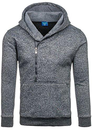 BOLF Herren Sweatshirt Pullover mit Kapuze mit Kordel Top AK72 Anthrazit_STAR_TC20