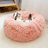 YOHAPPY Pet Bed for Cats and Dogs, Super Soft Round Dog Bed Oval Donut Nesting Cave Bed for Cats and Small Medium Dogs (50cm in diameter) (Pink)