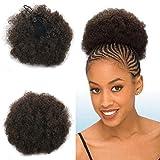 Dutt-Haarteil, weiches, schwarzes Haar, Afro-Haarteil, krauses Kunsthaar