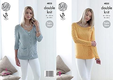 King Cole Ladies Double Knitting Pattern Raglan Sleeve Lacy Sweater & Cardigan (4835)