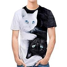 Camiseta Hombre,ZARLLE Hombres Que Impresion En 3D PatróN De Gato Doble Personalidad Mens Casual