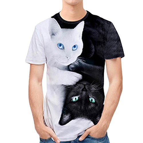 Camiseta Hombre,ZARLLE Hombres Que Impresion En 3D PatróN De Gato Doble Personalidad Mens Casual Slim Camisa De Manga Corta Top Blusa Outwear Sudadera Blusa Tops Camiseta De Hombre