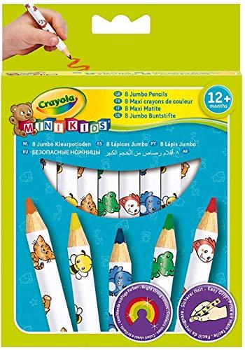 Crayola 3678, mini kids - matitoni decorati, età 12 mesi, per asilo e tempo libero, colori assortiti, 8 pezzi