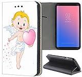Samsung Galaxy S3 / S3 Neo Hülle Premium Smart Einseitig Flipcover Hülle Samsung S3 Neo Flip Case Handyhülle Samsung S3 Motiv (1227 Engel Cartoon Gelb Rosa)