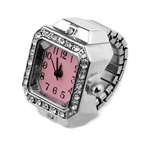 Gleader 20mm Quadrat Ringuhr Finger-Uhr Fingeruhr Uhrenring Neu TOP