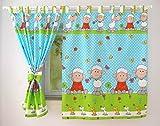 BABYLUX Kinderzimmer VORHANGE 160x120 cm mit Schlaufen Kinder und Baby Gardinen (3. Grün Schaf)