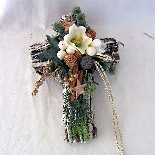 Small-Preis Wintergesteck – Grabgesteck – Grabschmuck – Grabaufleger Kreuz Natur mit Christrose 893