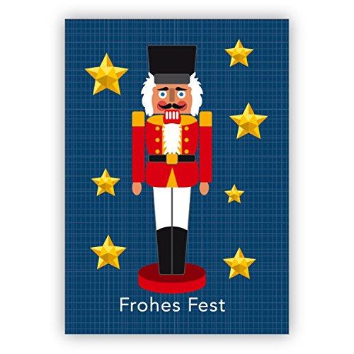 1 Schöne blaue Retro Weihnachtskarte mit Nussknacker zwischen Sternen: Frohes Fest • als festliche Grußkarte zu Weihnachten, zum Jahreswechsel für Familie und Firma
