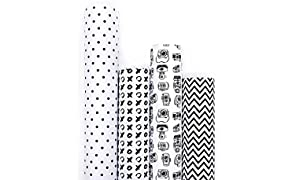 7mm Between the Lines Gift Wrappers - Monochrome (set of 4 sheets), 20 x 30 inch sheet