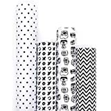 7mm Gift Wrappers - Monochrome (set of 4 sheets)