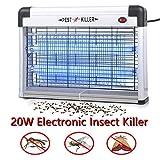 Elektrische Mückenlampe 20W Fluginsektenvernichter,Insektenabwehr Zapper, UV, LED, gegen Mücken, elektrisch, für Innen- und Außenbereich, Elektrischer Insektenvernichter Mückenvernichter 20W (Weiß)