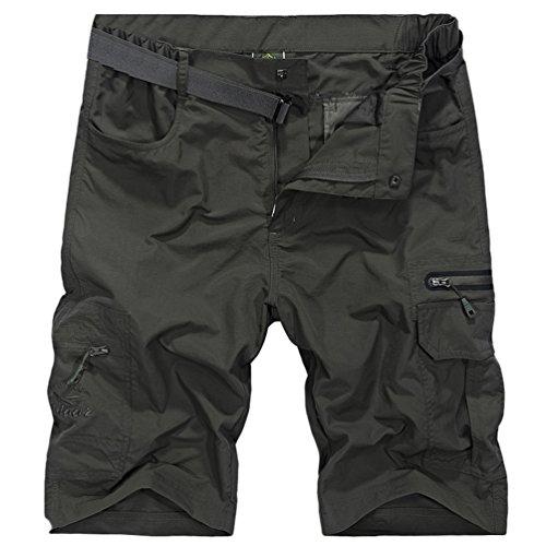 Xinwcang Hombres Pantalonetas Talla Grande Aire Libre Secado Rápido Deporte Pantalones Cortos Multi-Bolsillo Bermuda r4iC70Th0L