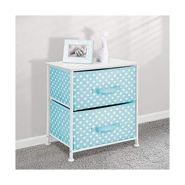 mDesign Chest of Drawers - Children's Bedroom Storage System with 2 Drawers and Flat Top - Nursery Storage Unit with Polka Dot Design - Turquoise/White mDesign SWEET STORAGE: This 2-drawer side table is a must-have accent to complement any child's room. The bright turquoise fabric is adorned with a sweet white polka dot pattern. STORE ANYTHING: The bedroom drawers are a versatile unit and can be filled with anything. Use to store toys, accessories, clothes, books, nappies and more. VERSATILE UNIT: Although the unit works best as bedroom storage, its uses do not stop there. Place in play rooms, nurseries and other child-specific areas of the home. 2