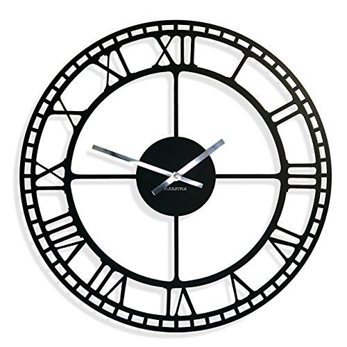 Grande horloge murale vintage non tachant, ovale, 50 cm, métal, salon chambre à coucher, fabriqué en EU