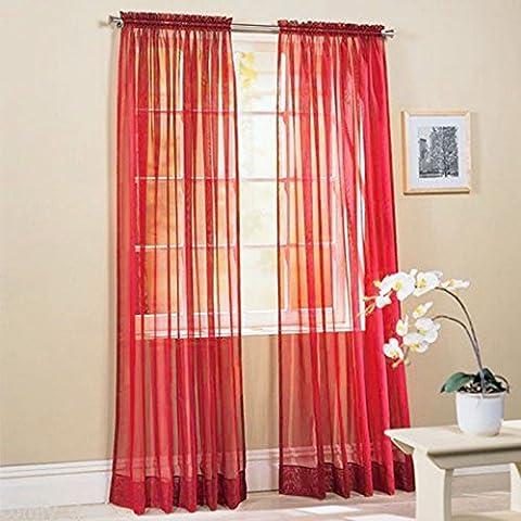 Anself 2pcs 100 * 200cm Cortina gasa de color puro romántica de puerta ventana para salón boda banquete fiesta