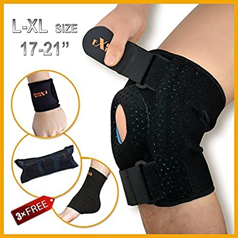 Knee Brace Support by Motion Infiniti for ACL, Meniscus Tear and Arthritis. Reduce Your Pain Today and Enjoy 3 Gifts. Best Open Patella Knee Stabilizer. Fits L to XL (18-21 Inches) Around Kneecap.