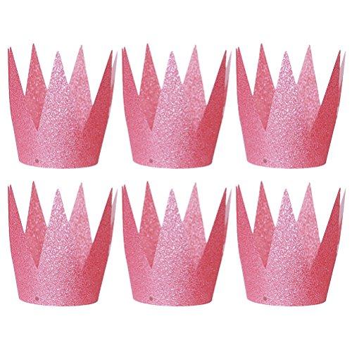 Toyvian Plastik Kronen Hut Glitzer Partyhüte Stirnband Haarschmuck für Baby Kinder Erwachsene Geburtstag Party 6 Stück(Rosa)