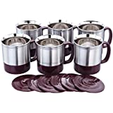 Expresso® - 150 ML Double Wall Stainless Steel Coffee/Tea Cup Set Of 6 With Lid