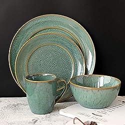 XXLCJ Pavo Real Verde Vintage vajilla de cerámica Platos para el hogar Plato de Filete Occidental Taza/tazón Profundo (Tamaño : E)