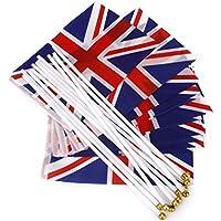 amyjazz deportes mano saludando bandera banderas bastones de plástico (Pack de 12)