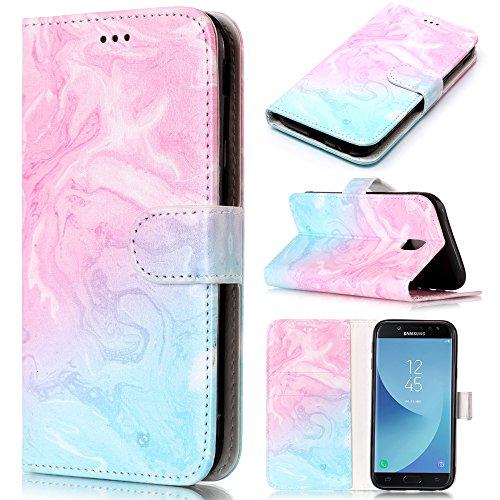 CLM-Tech kompatibel mit Samsung Galaxy J5 (2017) DUOS Hülle Tasche aus Kunstleder, PU Leder-Tasche Lederhülle, Marmor Muster rosa hellblau
