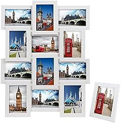Songmics Cornice Multifoto da Parete con 12 Posti di Foto e un Portafoto Singolo da Tavolo Bianco RPF112W
