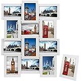 Songmics 3D Marcos para 12 fotos (10 x 15) + 1 x Marco de foto MDF Blanco RPF112W
