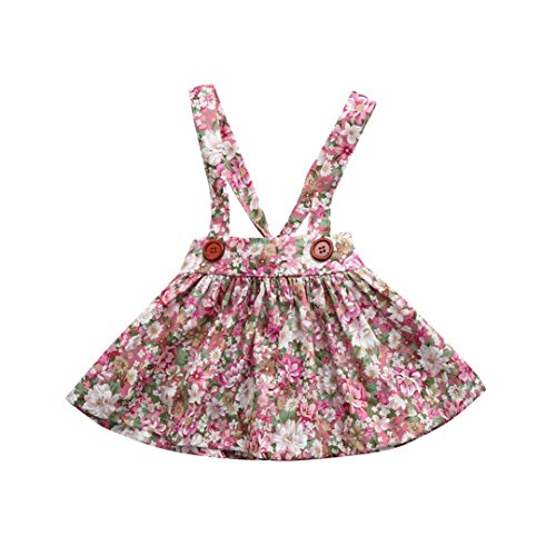 TPulling Mode Frühling Sommer Mädchen﹛6M-3T﹜Kinder Blumendruck﹛Bügel Print Straps﹜Tops Overall Backless Prinzessinkleid Rock Party Puff Top Mantel Dicke Outfits Kleider (Rosa, 6M/70) (Rock Layered Print)