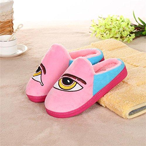 donna caldo e in casual Mhgao sono pantofole Pink inverno autunno da in lana in pantofole in pelle 0q8U5n