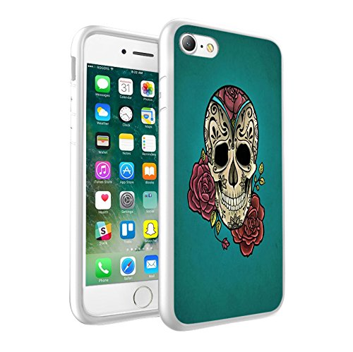 iPhone 5c Sweet Skull & Green with Flowers design Case, Premium Lightweight Cover Skin, Unique Custom Cool Design Protective Hard back Slim Thin Fit PC Bumper Case Scratch-Resistant Cover for iPhone 5c - Sweet Skull & Green with Flowers Cool Art 0020 (Bling Case Iphone 5c-skull)