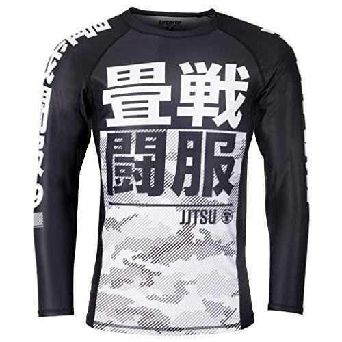 Tatami Rashguard Essential Camo Weiß/Schwarz - Langarm - Herren Rash Guard für Jiu Jitsu, Fitness, Grappling und MMA - Kompressions Shirt mit 4-Wege Stretch (S) - Schwarze Und Weiße Camo