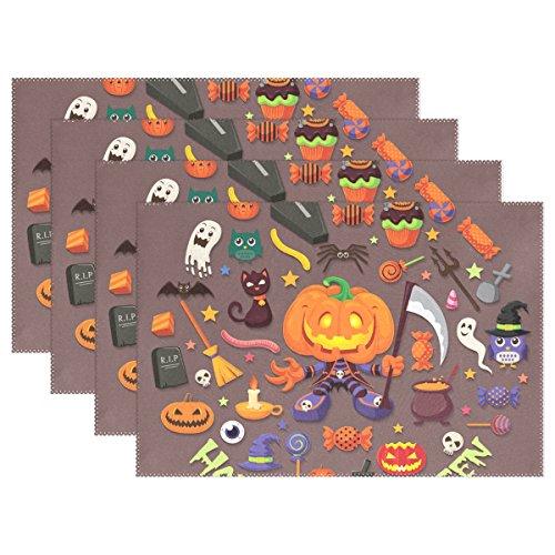 Weihve Tischsets, abwischbar, Halloween-Totenkopf, Hexe, Jack-O'-Lantern, Polyester-Mischgewebe, Multi 01, 12 x 18 Inch