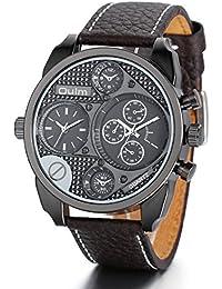 jewelrywe Hombre Reloj de Pulsera, Elegante Casual Sport Reloj analógico de Cuarzo Piel Reloj de
