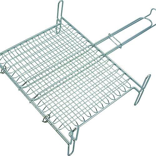 Msv 110374 - griglia rettangolare con piedini e maglia stretta, in acciaio cromato, 27 x 37 x 0,1 cm