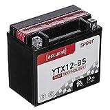 Accurat Motorradbatterie YTX12-BS 10Ah 180A 12V...