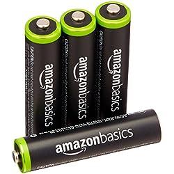 AmazonBasics - Juego de 4 pilas recargables AAA Ni-MH (precargadas, 1000 ciclos, minimo 750 mAh) - La cubierta exterior puede variar