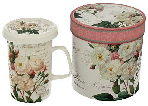 Tee-Tasse Teebecher Set mit Sieb und Deckel Porzellan Kräuter-Teetasse Geschenk-Tasse Cup with porcelain infuser 300 ml von DUO in Geschenkbox (White Rose) (Rose White Tasse)