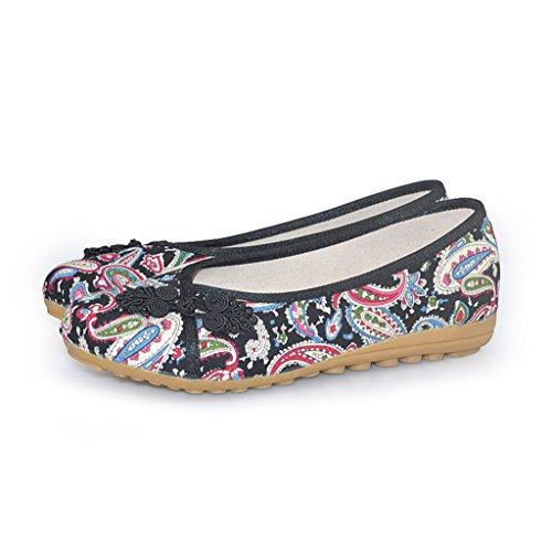 Frauen bestickte Schuhe Frühjahr Herbst Freizeit dünnen Abschnitt rutschfeste flache Schuhe ( Farbe : Rot , größe : US:6.5\UK:5.5\EUR:38 )