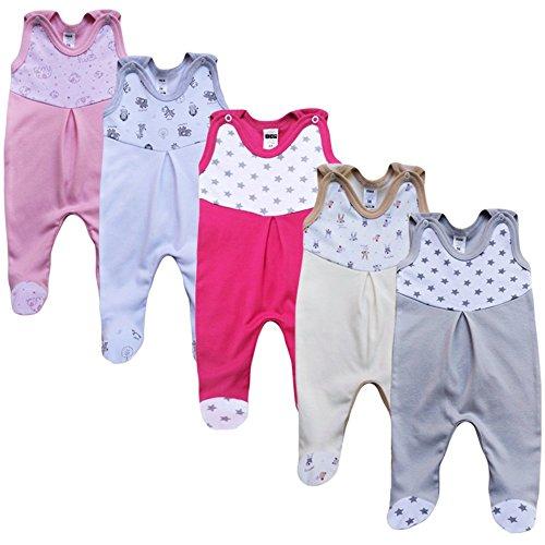 MEA BABY Unisex Strampler mit Aufdruck, Baumwolle, 5er Pack. Baby Strampler Mädchen Baby Strampler Junge (68, Mädchen)