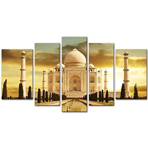 Leinwanddruck Wandkunst Malerei Für Wohnkultur Weiß Marmor Taj Mahal Palast In Agra Indien Auf Sonnenaufgang Indien Uttar Pradesh 5 Stück Tafelbilder Moderne Giclée Gestreckt Und Gerahmt Kunstwerk Das