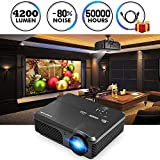 Proiettore LED ad alta luminosità 4200 Lumens Proiettore per Home Cinema Supporto Uscita audio HDMI Full HD 1080P VGA USB HDMI per Iphone Ipad Mac Telefono Android Tablet PC Laptop Box TV DVD